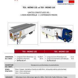 TYPE TEX-MONO 135 et TEX-MONO 110 unité mobile de formation professionnelle
