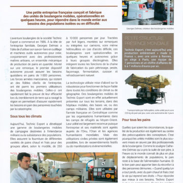 A magazine article on La boulangerie Française -« Des boulangeries tout     terrain » – January 2017